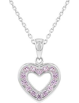In Season Jewelry Mädchen - Halskette Offen Herz 925 Sterling Silber Rosa CZ Zirkonia Klein 40cm