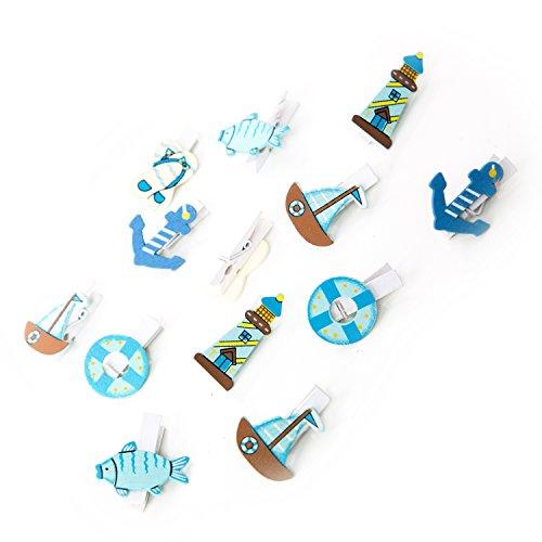 12 Stück kleine maritime Deko Klammern 3,5 cm türkis blau weiß Segel Boot Leuchtturm Schiff Anker Fische: Nautische Tischdeko oder Tischschmuck mit Zierklammern bzw. Mini Wäscheklammern Holzklammern
