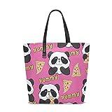 XiangHeFu Damen Handtaschen Panda Eat Pizza Polyester Stoff Umhängetasche