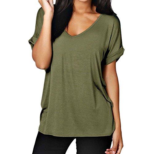 ESHOO Le donne casuale Baggy scollo a V Roll Over camicetta a maniche corte T-shirt Solid