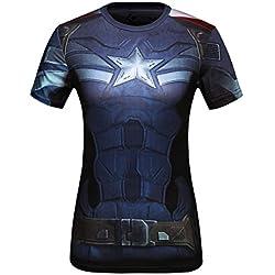 Cody Lundin Mujeres Impresión 3D Digital el Capitán América Ejercicio Fitness y Compresión Manga Corta Camiseta ,Para Yoga ejecutando Deportes (M, el Capitán América)