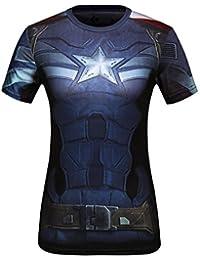 Cody Lundin Mujeres Impresión 3D Digital el Capitán América Ejercicio  Fitness y Compresión Manga Corta Camiseta 81c8589ede89e