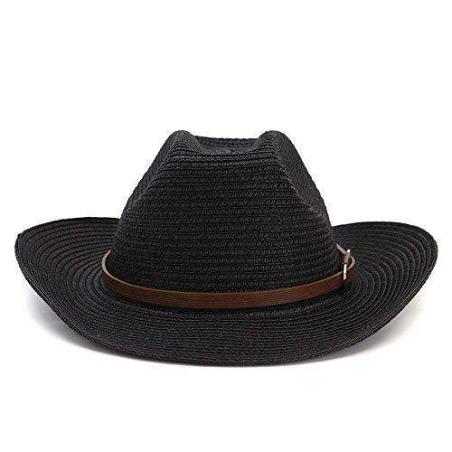 HÖHERE MÄNNER Top Hat 2019 Outdoor Seaside Sonnenblende Strandhut Strohgürtel Sonnenhut Einfarbig Fashion Classic Western Cowboy Strohhut (Farbe : Schwarz, Größe : - Black Top Hats Kostüm