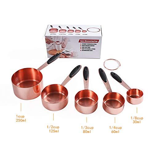 5 pezzi Misurini Cucchiai Dosatore in Acciaio inox Antiscivolo per Misurazione Ingredienti Asciutti o Liquidi per Infornare Cucinare con Anelli Lavabile in lavastoviglie