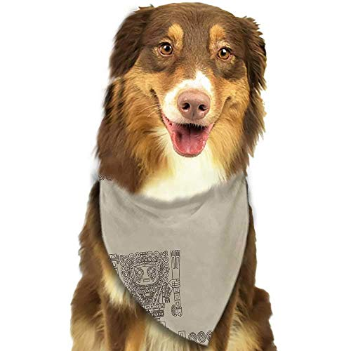 hulili Pet Dog Scarf Native American Ethnic Style Geometric Folk Design Geometric Floral Motifs Print Scarf for Small and Medium Dogs and Cats