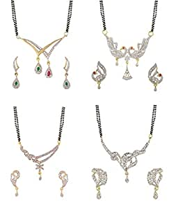 Zeneme Gold American Diamond Combo Of 4 Mangalsutra With Earrings Set For Women