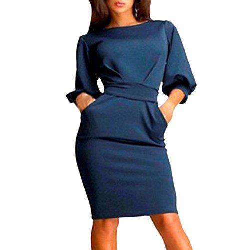 Culater® Mujeres Half Trabajo del O-Cuello vestido ocasional delgado (L, Azul Oscuro)