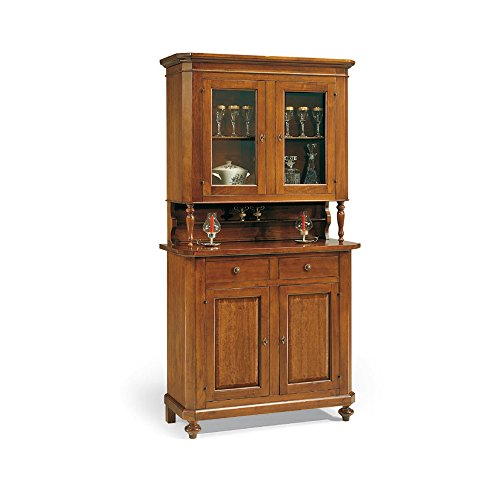 InHouse srls Vetrina con credenza, arte povera, in legno massello e mdf con  rifinitura in noce lucido - Mis. 104x43x218