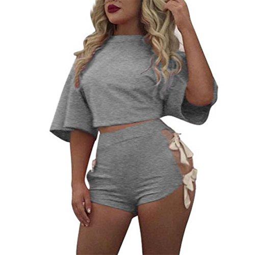 CYBERRY.M T-shirt Summer Femme Manche Courtes Bandage Crop Top Pants Set T-shirt Blouse Gris