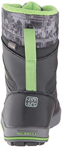 Merrell ml-b Snow Bank 2.0 Waterpoof, Chaussures de Randonnée Hautes Garçon Gris (Black/grey/green)