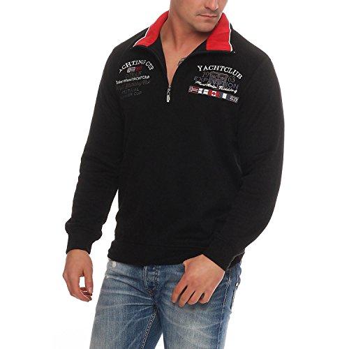 Benter Herren Baumwoll Pullover Sweatshirt Hoodie Winterpullover mit Stehkragen gestickt Logo Patches Yachting Regular Fit 16953, Größe L (52), Farbe Schwarz/Rot (Sweatshirt Schwarzes Hoody Logo-patch)