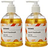 Amazon Brand - Solimo Handwash Liquid, Orange Ginger - 250 ml (Pack of 2)