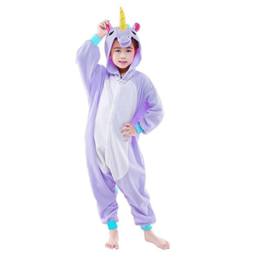 Canasour Einhorn Pyjamas Kinder Kostüm Schlafanzug Karneval Cosplay Fasching (Lila Einhorn, 105:115-124cm)