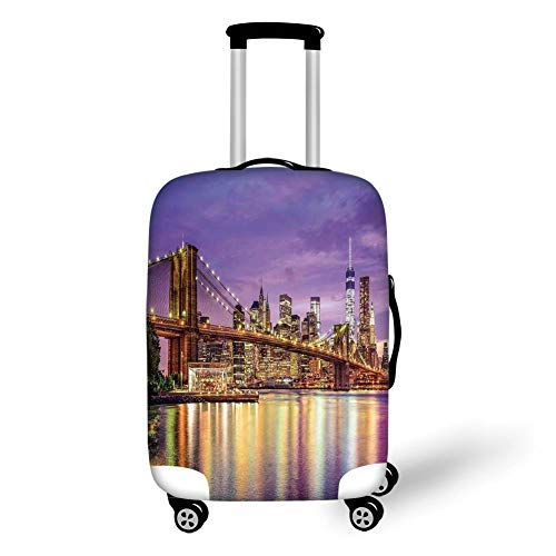 Travel Luggage Cover Suitcase Protector,New York,NYC Exquisite Skyline Manhattan Broadway Old Neighborhood Tourist Country Print,Purple Gold,for Travel L