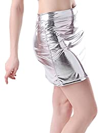 HDE Sexy Women's Shiny Wet Look Faux Leather Mini Skirt
