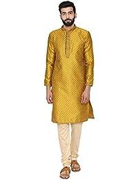 Manyavar Men's Green Full Sleeve Regular Fit Designer Kurta & Churidar Set