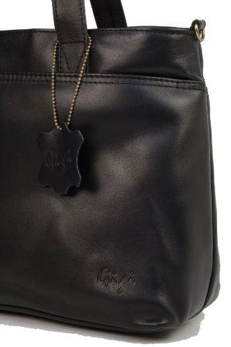 Lederhandtasche Tote von Gigi - GRÖßE: B: 33,255 cm, H: 21,75 cm, T: 11,5 cm Schwarz