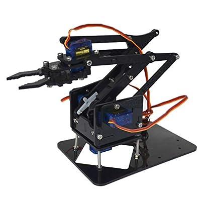 Homyl Hot Smart Acrylic Robot DIY 4-Dof Tank Robotics Arm Arduino 51 Learning Assembly Kits Educational Toy