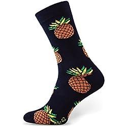 Sesto Senso Calcetines de algodón, divertidos calcetines estampados de colores para hombres y mujeres, calcetines unisex impares (43-46, Piña)