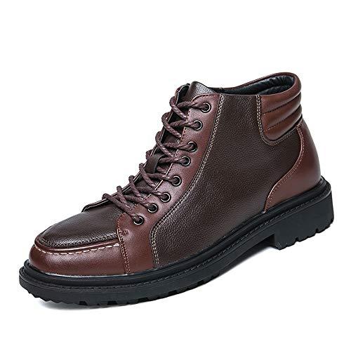 GOLDT1 Stivaletti alla Caviglia da Uomo Casual Hidden Heel High Top Lace Up per Il Tempo Libero da Uomo Formal Classic comode Scarpe da Lavoro (Color : Marrone, Dimensione : 38 EU)
