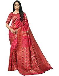 COTTON SHOPY Women's Banarasi Tussar Silk Saree with Blouse Piece (Cott-895_Pink & Gajari)