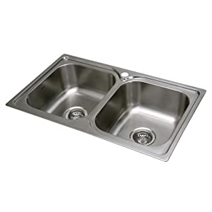 Cata 2607209 Cocina | Modelo: C 2 AG Doble cubeta Cuadrada | Instalación en Mueble de 80 cm | Fregadero sobre encimera…