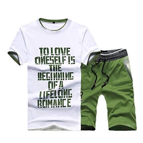 CuteRose Men's Short Pants Loose Printed Original Fit Sport Sweat Suit Set Green M (Cropped Set Green Pant)