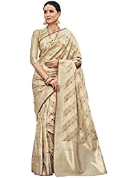 Saree Mall Beige Sarees For Women (Banarasi Silk Sarees_TNZK6004_Free Size)