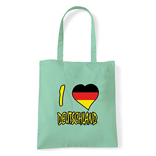 Art T-shirt, Borsa Shoulder I Love Deutschland, Shopper, Mare Menta