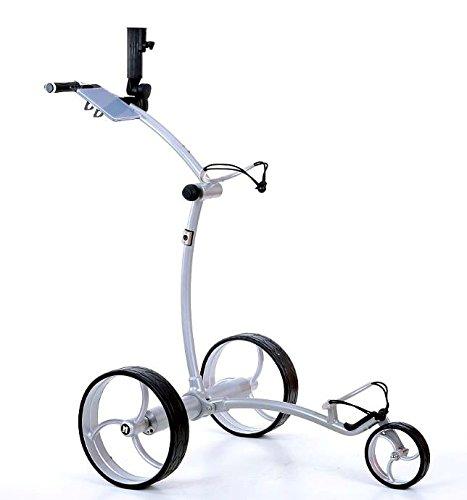 tour-made RT-630LI Quickfold Lithium Elektro Golftrolley mit Motorbremse Rahmen Silber Räder Silber -
