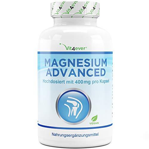 Vit4ever® Magnesium Advanced - 365 Kapseln - 670 mg je Kapsel davon von 400 mg elementares (reines) - 1 Jahresvorrat - Laborgeprüft - 100{f260952bfce796f5b366cbe27d23c4e8d3f301c5fbc3e160af372333329b6978} Vegan - Hochdosiert - Ohne unerwünschte Zusätze