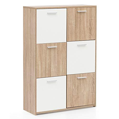 FineBuy Highboard FB52412 6-türig 77x115x30 cm Sideboard Weiß/Sonoma | Kommode Anrichte mit sechs Türfächern | Kleiner Wohnzimmerschrank | Design Aufbewahrungsschrank Flurkommode Modern -