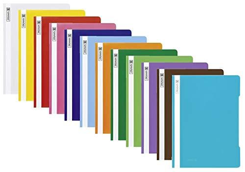 12 Brunnen Schnellhefter A4 farbig sortiert PP-Folie glasklares Deckblatt (12 Farben)
