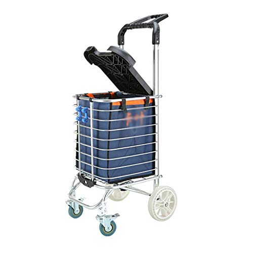 Mit Deckel kann sitzen Einkaufswagen Kreative Falten tragbaren Einkaufswagen Home Grocery Shopping Cart (Color : B) (Cart Falten Shopping)