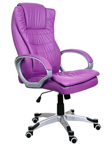 Sessel Violett Bürosessel Chefsessel Bürostuhl Drehstuhl Bürodrehstuhl PU-Leder BSU010