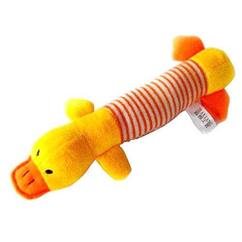 Ruikey perro de sonido de masticar juguete de felpa forma de pato Mascota Cat Puppy Squeaker chirriador de juguete