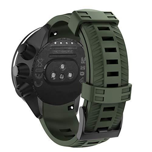 Muium Armband for SUUNTO 9/ Baro Smart Watch,Sport-Silikon-Ersatzband für SUUNTO 9 / Baro Smart Watch (Armeegrün)
