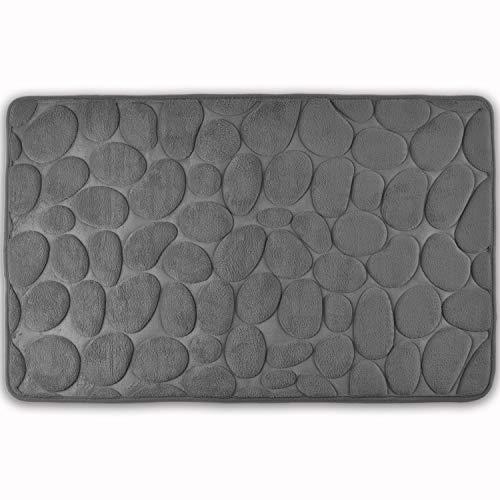 WohnDirect Memory Foam Badezimmerteppich - Rutschfester Badteppich - Badematte waschbar & schnelltrocknend - Badvorleger 50 x 80 cm - Grau