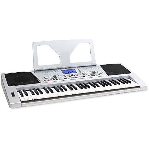 Schubert Sub61B teclado con USB-MIDI (61 teclas dinámicas, 128 instrumentos/voces, 128 ritmos de acompañamiento, 4 bancos de memoria, pantalla LCD, función de aprendizaje) - blanco