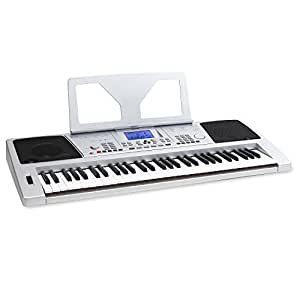 Schubert Subi61S • Keyboard • E-Piano • 61 Tasten • 128 Instrumente • 128 Begleitrhythmen • 12 Demosongs • 4 Speicherbänke • Lernfunktion • Aufnahme- und Wiedergabefunktion • MIDI-USB • Pitchwheel • Notenhalter • Netz- oder Batteriebetrieb • silber