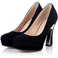 zz&Y Anti-privo di pelucchi singola calzatura porta luce testa rotonda tacchi alti matte scarpe impermeabili desktop,Nero,36