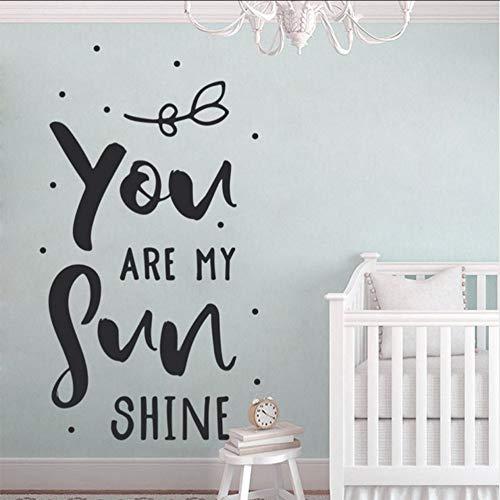 Chellonm Du Bist Mein Sonnenschein Wandkunst Aufkleber, Typografie, Zitate, Kinderzimmer Aufkleber, Wand-Vinyl-Aufkleber, Baby-Dusche, Geschenk 42 * 75Cm