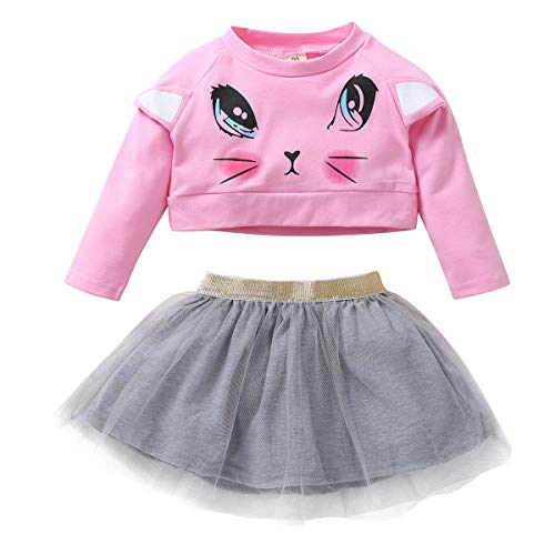 t Kleidung Set Kids Cartoon Top Shirt + Tüllrock (Color : 4Y-5Y) ()