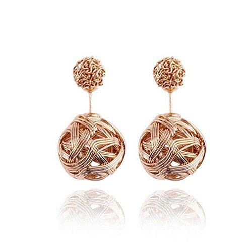 Hot Vendita, Fittingran Le Donne di Modo mostrano Il Doppio Orecchini dell'orecchino dei Regali dei Gioielli dell'orecchino della Sfera di Cristallo (Oro)