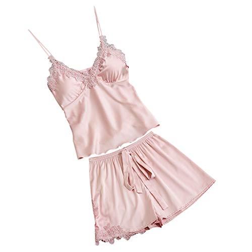 Proumy Pijama Verano Mujer Dos Piezas Camisola Encaje