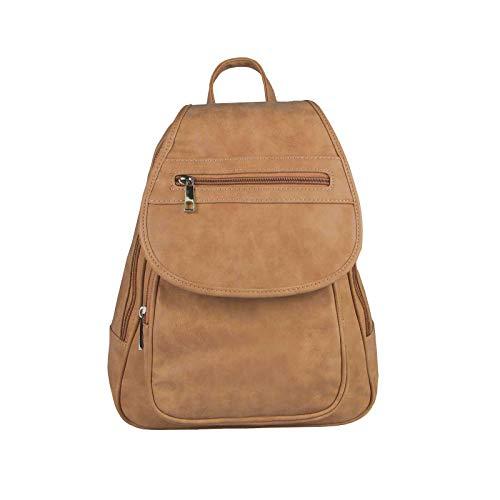OBC Damen Rucksack Organizer Cityrucksack Schultertasche Stadtrucksack Backpack Handtasche Daypack Leder Optik Tablet Cognac -