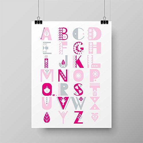 Kinderposter fürs Kinderzimmer | ABC rosa | Babyzimmer | Poster A4 | Mädchen Junge | Wand-Dekoration für den Bilderrahmen | Alphabet Schule Lernen Lernzimmer Schreibtisch Lesen Schreiben