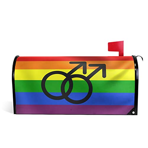 Wamika Regenbogenfarbener Peace Pride magnetischer Briefkasten-Überzug, LGBT-Symbol, Briefkasten, Garten, Hof, Heimdekoration für den Außenbereich, Standardgröße 52 cm (L) x 46 cm (B)