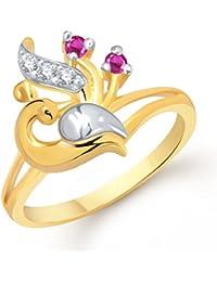 V. K. Jewels Mayur Gold And Rhodium Plated Ring For Girls - Fr1209G [Vkfr1209G]