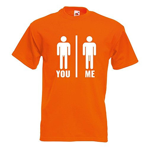KIWISTAR - You vs. Me - Längenvergleich T-Shirt in 15 verschiedenen Farben - Herren Funshirt bedruckt Design Sprüche Spruch Motive Oberteil Baumwolle Print Größe S M L XL XXL Orange